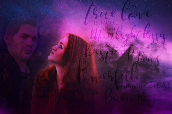 Decorative swishes say: True love is more than moonlight kisses and desperate vows. It might just be powerful enough to heal two broken people. Which is part of the fic blurb.